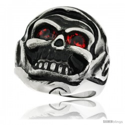 Surgical Steel Biker Ring Decomposing Skull w /Red CZ Eyes