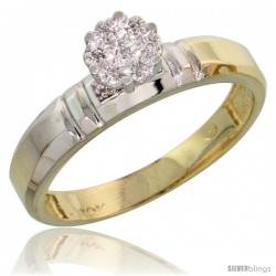 10k Yellow Gold Diamond Engagement Ring 0.05 cttw Brilliant Cut, 5/32 in wide -Style 10y023er