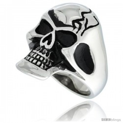 Surgical Steel Biker Skull Ring w/ Cracks on Forehead