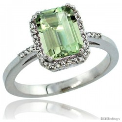 Sterling Silver Diamond Green-Amethyst Ring 1.6 ct Emerald Shape 8x6 mm, 1/2 in wide -Style Cwg02129