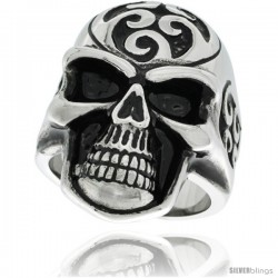 Surgical Steel Biker Skull Ring with Wave Tattoos