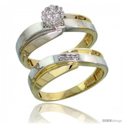 10k Yellow Gold Diamond Engagement Rings Set 2-Piece 0.07 cttw Brilliant Cut, 1/4 in wide