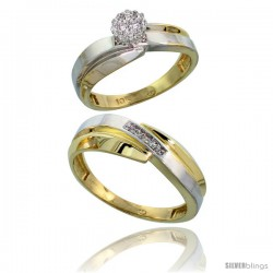 10k Yellow Gold Diamond Engagement Rings 2-Piece Set for Men and Women 0.08 cttw Brilliant Cut, 6mm & 7mm wide
