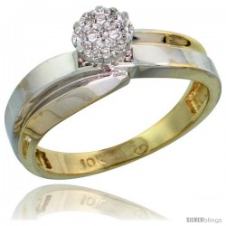10k Yellow Gold Diamond Engagement Ring 0.05 cttw Brilliant Cut, 1/4 in wide