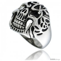 Surgical Steel Biker Ring Decomposing Skull w/ White CZ Eye