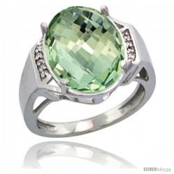 Sterling Silver Diamond Natural Green Amethyst Ring Ring 9.7 ct Large Oval Stone 16x12 mm, 5/8 in wide