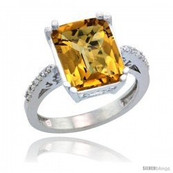 Sterling Silver Diamond Natural whisky Quartz Ring 5.83 ct Emerald Shape 12x10 Stone 1/2 in wide
