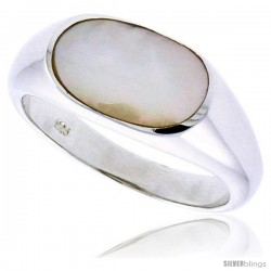 "Sterling Silver Ladies' Ring w/ an Oval-shaped Mother of Pearl, 3/8"" (9 mm) wide"