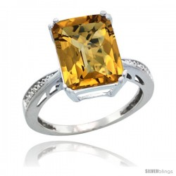 Sterling Silver Diamond Natural whisky Quartz Ring 5.83 ct Emerald Shape 12x10 Stone 1/2 in wide -Style Cwg26149