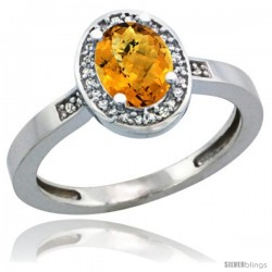 Sterling Silver Diamond Natural whisky Quartz Ring 1 ct 7x5 Stone 1/2 in wide