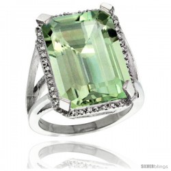 Sterling Silver Diamond Green-Amethyst Ring 14.96 ct Emerald Shape 18x13 mm Stone, 13/16 in wide