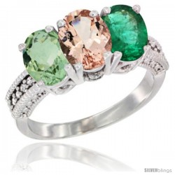 14K White Gold Natural Green Amethyst, Morganite & Emerald Ring 3-Stone 7x5 mm Oval Diamond Accent