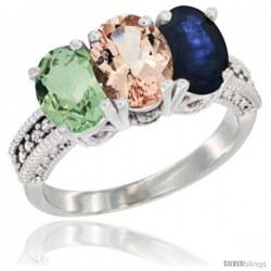 14K White Gold Natural Green Amethyst, Morganite & Blue Sapphire Ring 3-Stone 7x5 mm Oval Diamond Accent