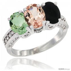 14K White Gold Natural Green Amethyst, Morganite & Black Onyx Ring 3-Stone 7x5 mm Oval Diamond Accent