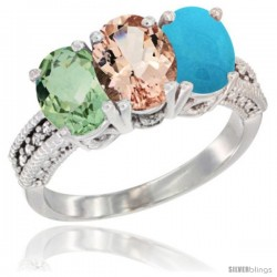 14K White Gold Natural Green Amethyst, Morganite & Turquoise Ring 3-Stone 7x5 mm Oval Diamond Accent