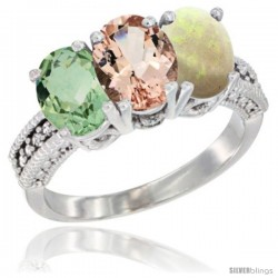 14K White Gold Natural Green Amethyst, Morganite & Opal Ring 3-Stone 7x5 mm Oval Diamond Accent
