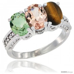 14K White Gold Natural Green Amethyst, Morganite & Tiger Eye Ring 3-Stone 7x5 mm Oval Diamond Accent