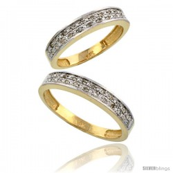14k Gold 2-Piece His (4mm) & Hers (4mm) Diamond Wedding Band Set, w/ 0.20 Carat Brilliant Cut Diamonds