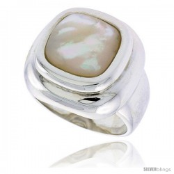 """Sterling Silver Ladies' Ring w/ a Square-shaped Mother of Pearl, 13/16"""" (20 mm) wide"""