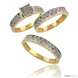 14k Gold 3-Piece Trio His (4mm) & Hers (4mm) Diamond Wedding Band Set, w/ 0.34 Carat Brilliant Cut Diamonds