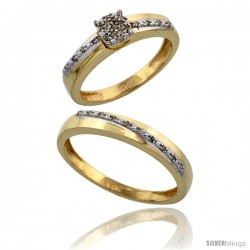 14k Gold 2-Piece Diamond Ring Set ( Engagement Ring & Man's Wedding Band ), 0.22 Carat Brilliant Cut Diamonds, 1/8 in. (3.5mm)