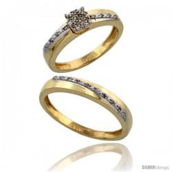 14k Gold 2-Piece Diamond Ring Set ( Engagement Ring & Man's Wedding Band ), 0.22 Carat Brilliant Cut Diamonds, 1/8 in. (3.5mm)