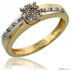 14k Gold Diamond Engagement Ring, w/ 0.14 Carat Brilliant Cut Diamonds, 1/8 in. (3.5mm) wide