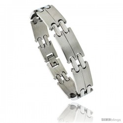 Stainless Steel Men's Double Bar Link Bracelet, 1/2 in wide, 8 in