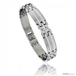 Stainless Steel Men's Pantera Bar Bracelet, 1/2 in wide, 8.5 in