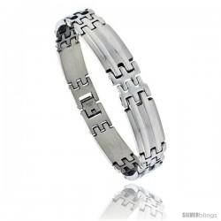 Stainless Steel Men's Pantera Bar Bracelet, 1/2 in wide, 8.5 in