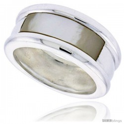 """Sterling Silver Ladies' Band w/ a Rectangular Mother of Pearl, 3/8"""" (10 mm) wide"""
