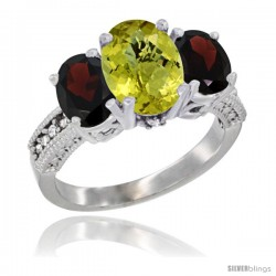14K White Gold Ladies 3-Stone Oval Natural Lemon Quartz Ring with Garnet Sides Diamond Accent