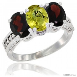 14K White Gold Natural Lemon Quartz & Garnet Sides Ring 3-Stone 7x5 mm Oval Diamond Accent