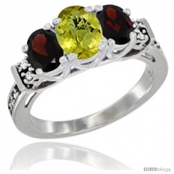 14K White Gold Natural Lemon Quartz & Garnet Ring 3-Stone Oval with Diamond Accent