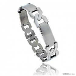 Stainless Steel Men's Crisscross Bar Link Bracelet, 5/8 in wide, 8.75 in