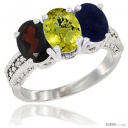 14K White Gold Natural Garnet, Lemon Quartz & Lapis Ring 3-Stone 7x5 mm Oval Diamond Accent