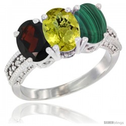 14K White Gold Natural Garnet, Lemon Quartz & Malachite Ring 3-Stone 7x5 mm Oval Diamond Accent