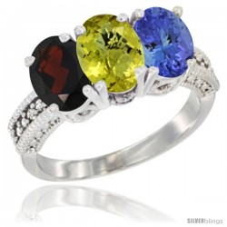 14K White Gold Natural Garnet, Lemon Quartz & Tanzanite Ring 3-Stone 7x5 mm Oval Diamond Accent