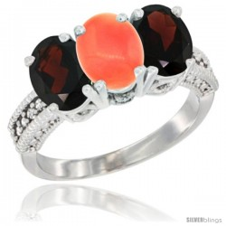 14K White Gold Natural Coral & Garnet Sides Ring 3-Stone 7x5 mm Oval Diamond Accent
