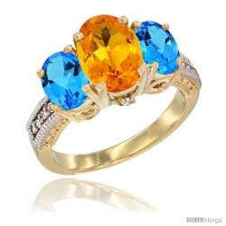 10K Yellow Gold Ladies 3-Stone Oval Natural Citrine Ring with Swiss Blue Topaz Sides Diamond Accent