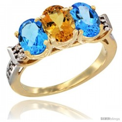 10K Yellow Gold Natural Citrine & Swiss Blue Topaz Sides Ring 3-Stone Oval 7x5 mm Diamond Accent