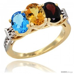 10K Yellow Gold Natural Swiss Blue Topaz, Citrine & Garnet Ring 3-Stone Oval 7x5 mm Diamond Accent