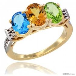 10K Yellow Gold Natural Swiss Blue Topaz, Citrine & Peridot Ring 3-Stone Oval 7x5 mm Diamond Accent
