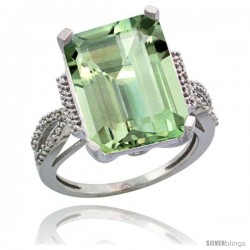 Sterling Silver Diamond Green-Amethyst Ring 12 ct Emerald Shape 16x12 Stone 3/4 in wide