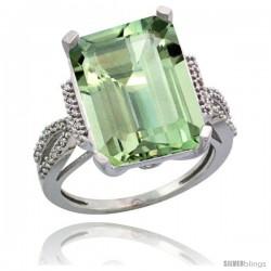 Sterling Silver Diamond Green-Amethyst Ring 12 ct Emerald Shape 16x12 Stone 3/4 in wide