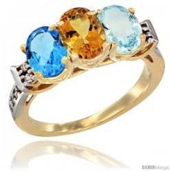 10K Yellow Gold Natural Swiss Blue Topaz, Citrine & Aquamarine Ring 3-Stone Oval 7x5 mm Diamond Accent