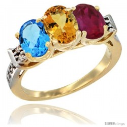 10K Yellow Gold Natural Swiss Blue Topaz, Citrine & Ruby Ring 3-Stone Oval 7x5 mm Diamond Accent