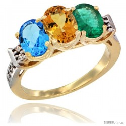 10K Yellow Gold Natural Swiss Blue Topaz, Citrine & Emerald Ring 3-Stone Oval 7x5 mm Diamond Accent