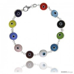 Sterling Silver Multi Color Evil Eye Bracelet, 7 in long