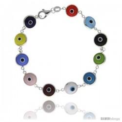 Sterling Silver Multi Color Evil Eye Bracelet, 7 in long